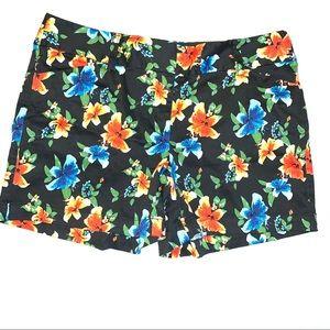 White House Black Market Black Floral Print Shorts